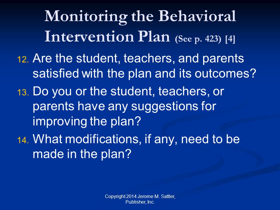 Monitoring the Behavioral Intervention Plan (See p. 423) [4]